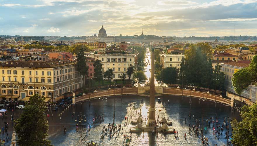 Aussicht vom Pincio auf Piazza del Popolo in Rom