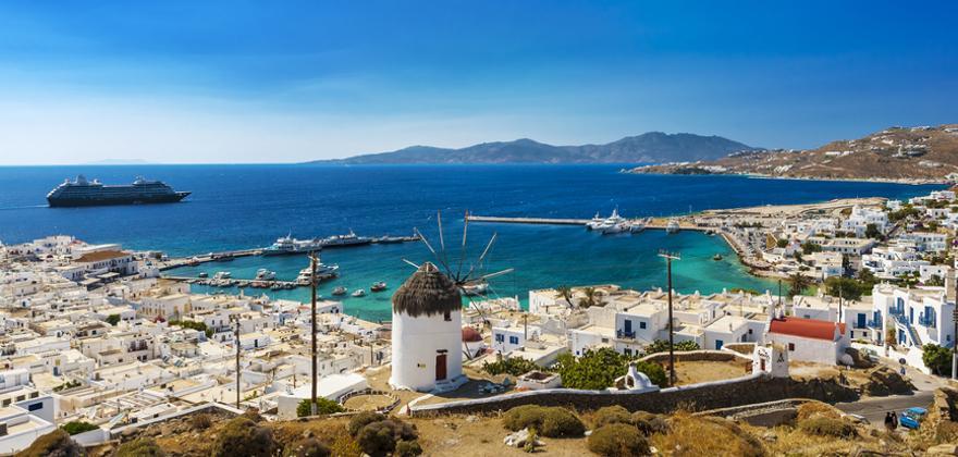 Blick auf die griechische Insel Mykonos