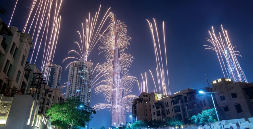 Feuerwerk in Dubai zu Silvester