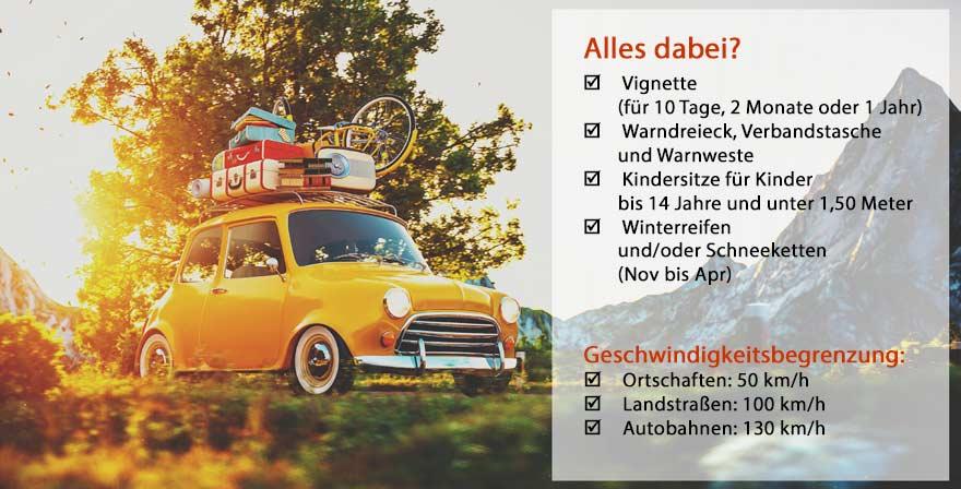 Checkliste: Eigenanreise nach Österreich