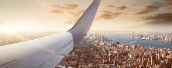 Panoramaansicht von New York aus dem Flugzeug