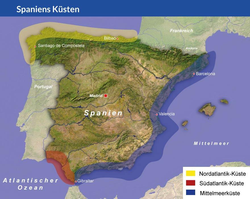 Karte Spaniens Küsten