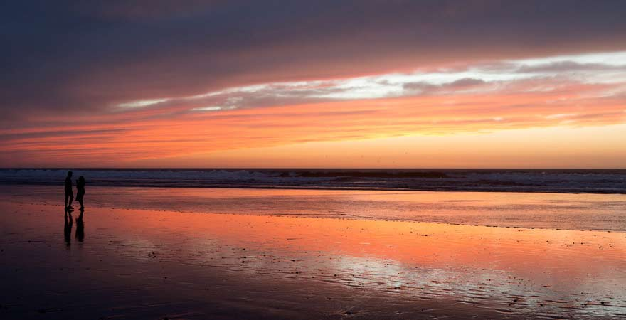 Bucht von Agadir zum Sonnenuntergang