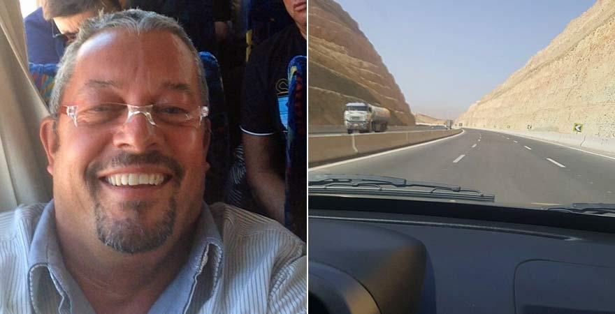 Andreas im Bus auf seinem Tagesausflug nach Kairo