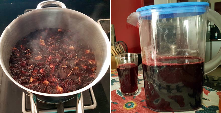 Zubereitung von Karkadeh beim Kochkurs in Ägypten