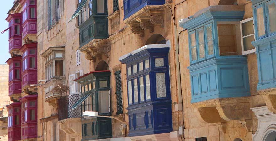 Impression von Balkonen in Valletta, Malta