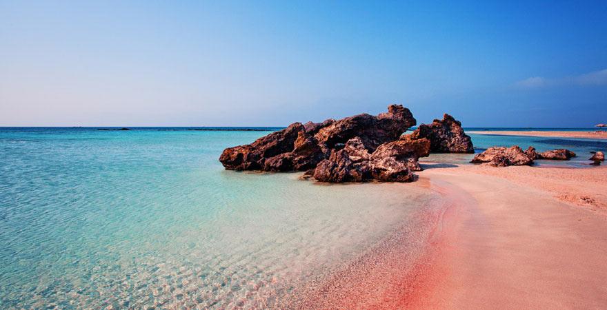 Der rosa Strand von Elafonissi auf Kreta