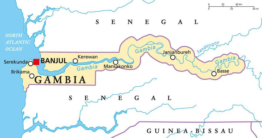 Grafik Gambia Karte Landkarte