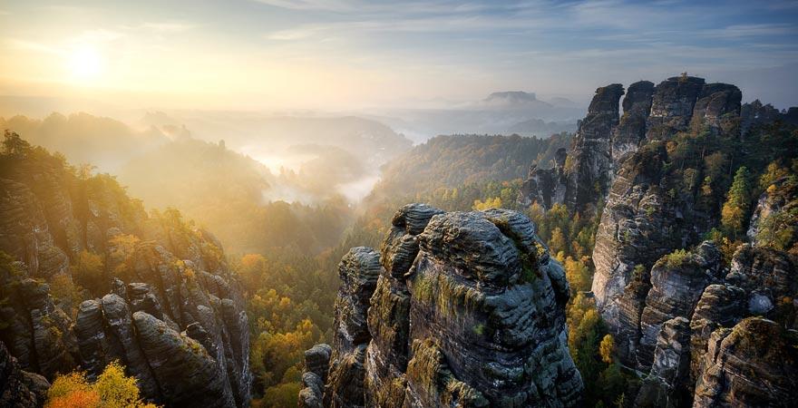 Nationalpark Sächsische Schweiz, Ausblick auf die Bastei