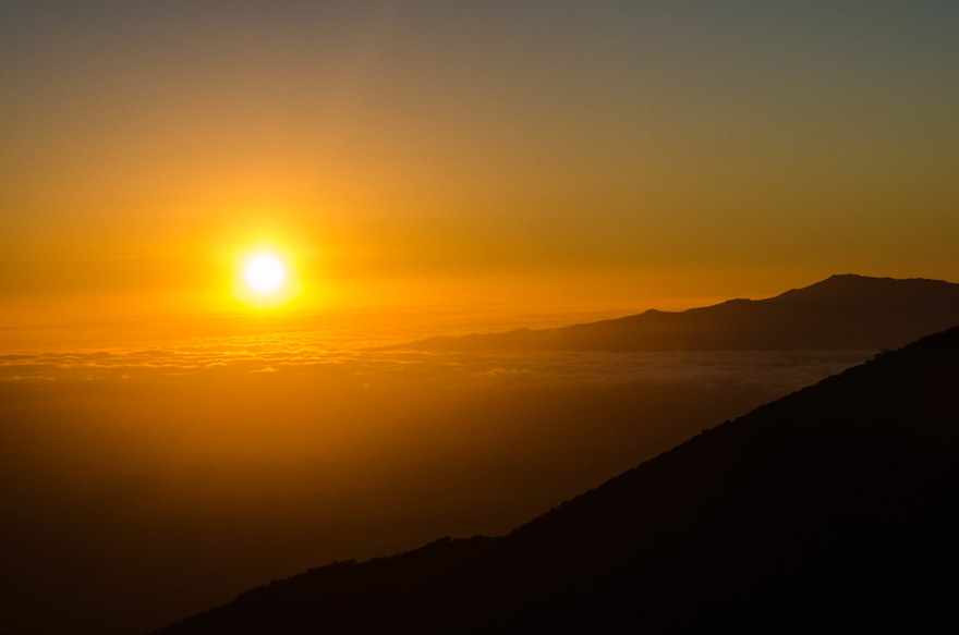Sonnenuntergang über Mauna Kea, Hawaii
