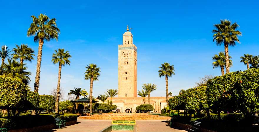 Die Koutoubia Moschee ist eine der Hauptsehenswürdigkeiten in Marrakesch