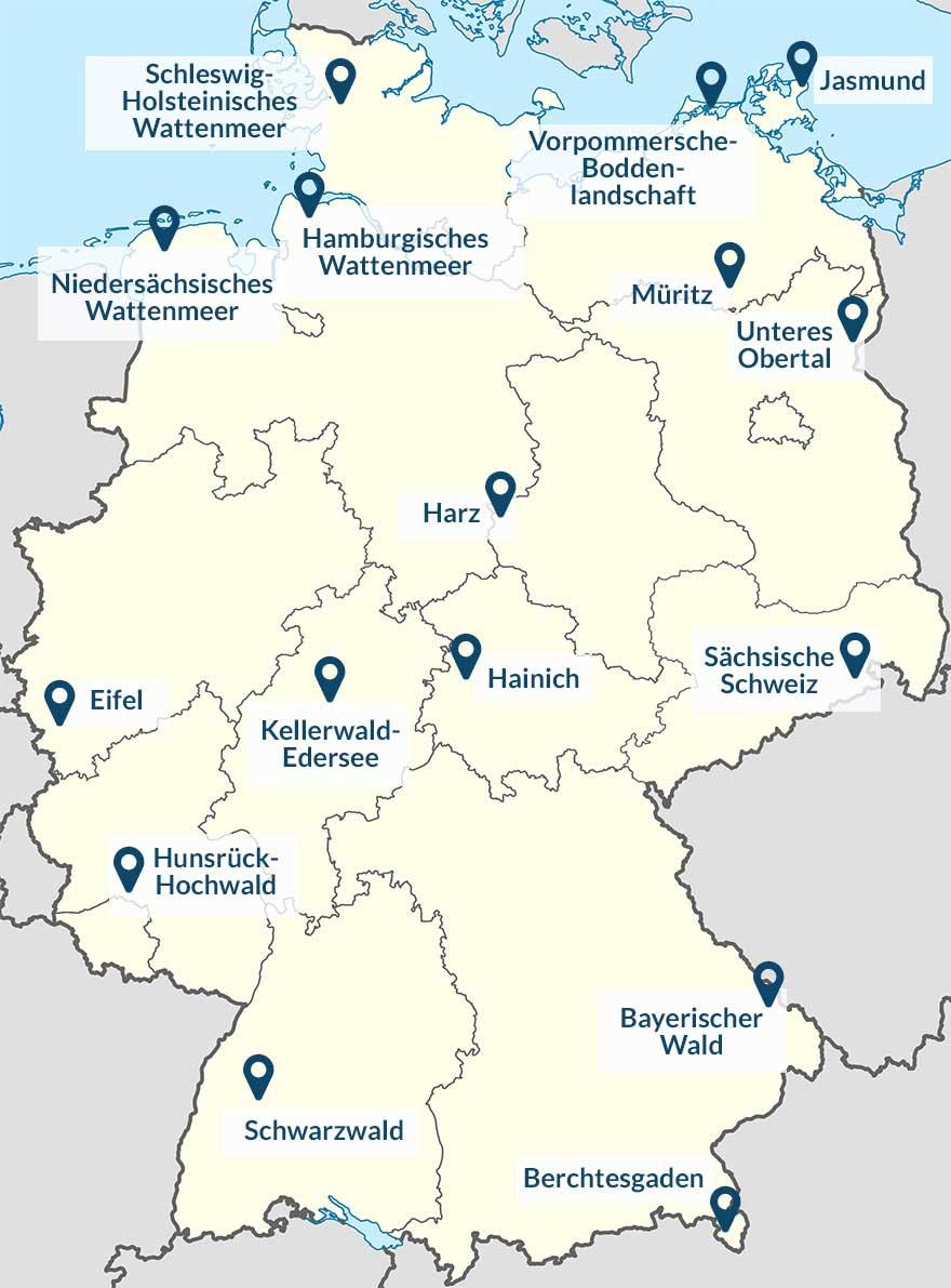 Karte mit Deutschlands Nationalparks