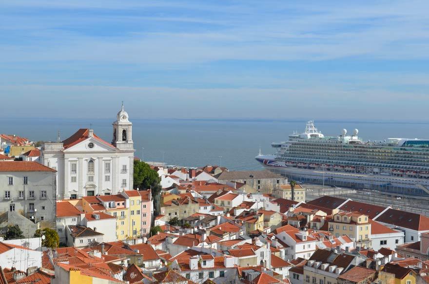 Ausblick von einem Miradouro auf Lissabon