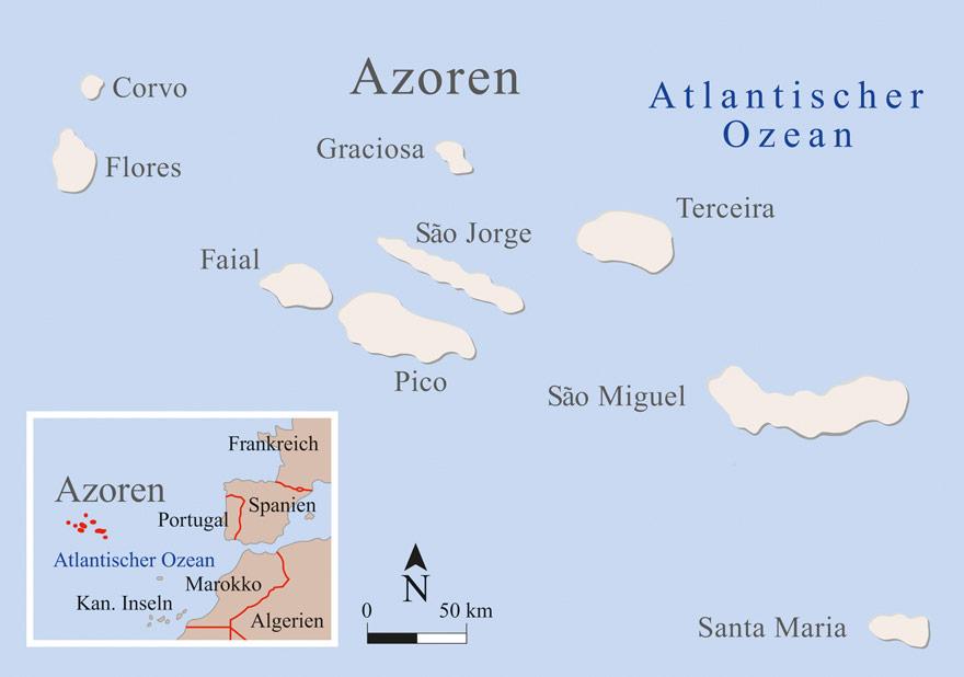 Karte der Azoren-Inseln