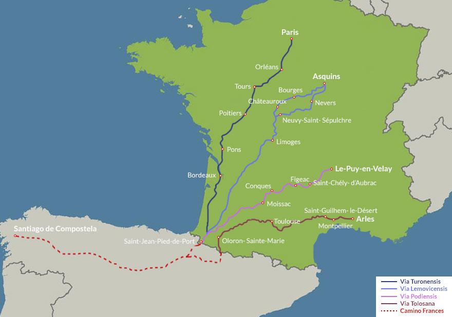 Karte mit Frankreichs Jakobswegen
