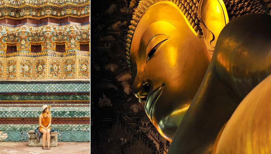 Wat Pho mit liegendem Buddha - eine der schönsten Sehenswürdigkeiten in Bangkok