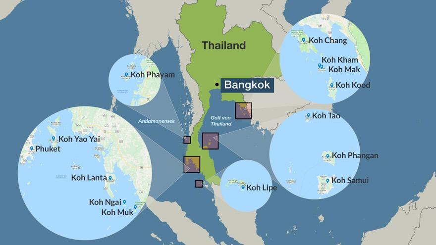 Karte thailändische Inseln