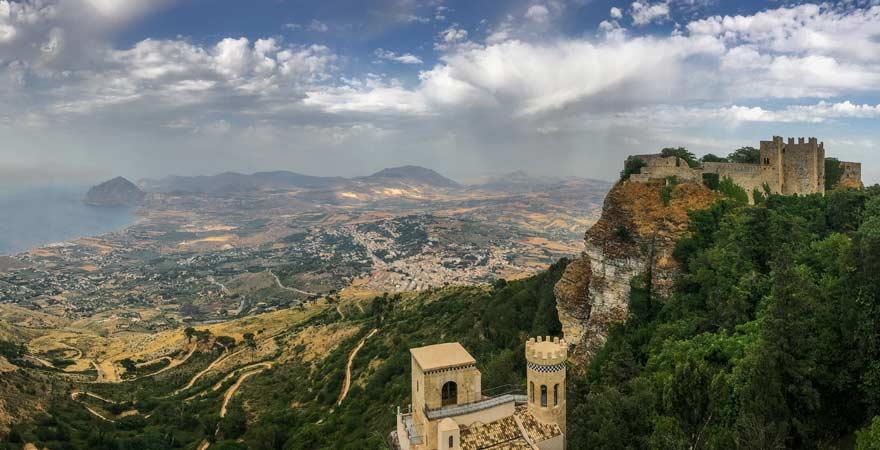 Blick von Erice, Sizilien
