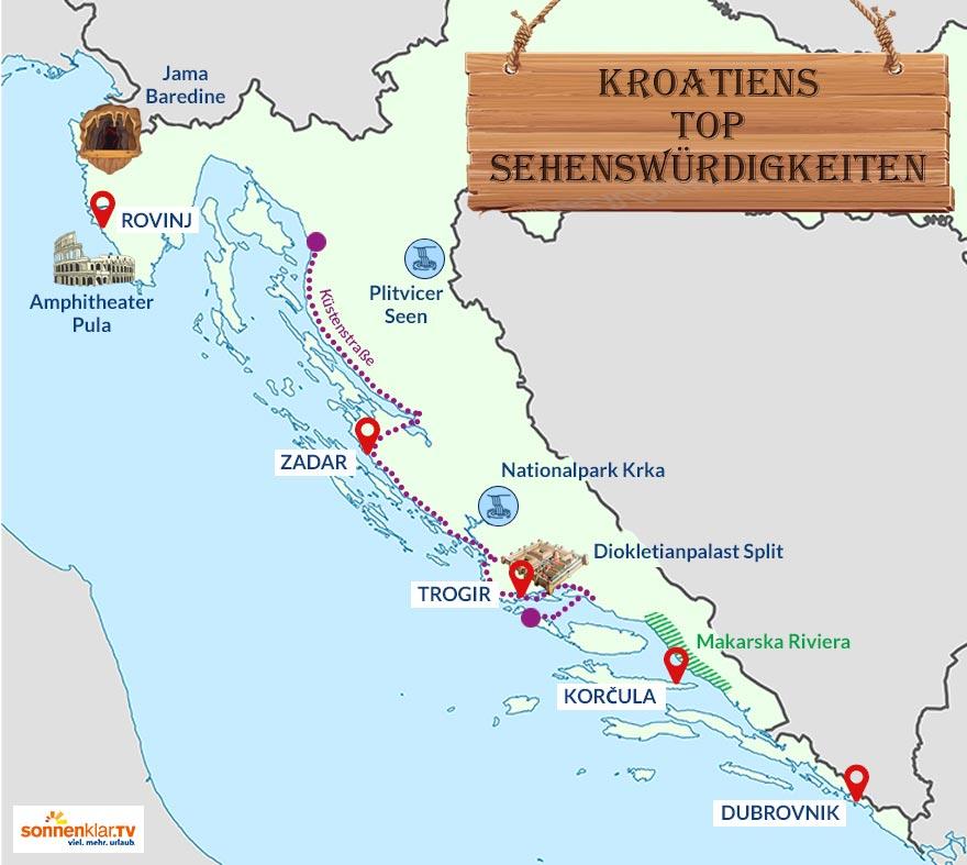 Karte Kroatien Sehenswürdigkeiten