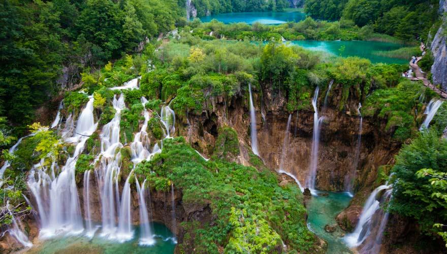 Wasserfälle an den Plitvicer Seen in Kroatien