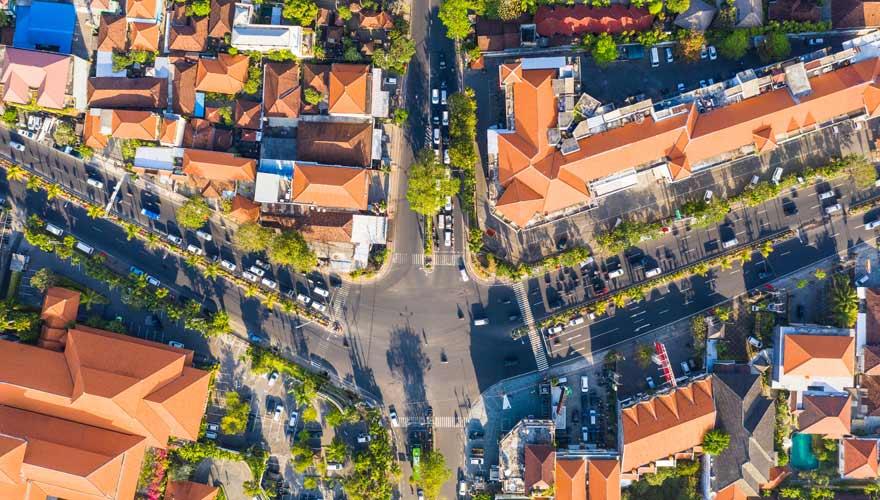 Denpasar auf Bali von oben