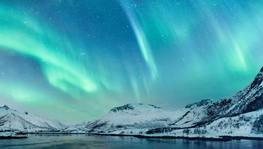 Nordlicht in den Lofoten in Norwegen
