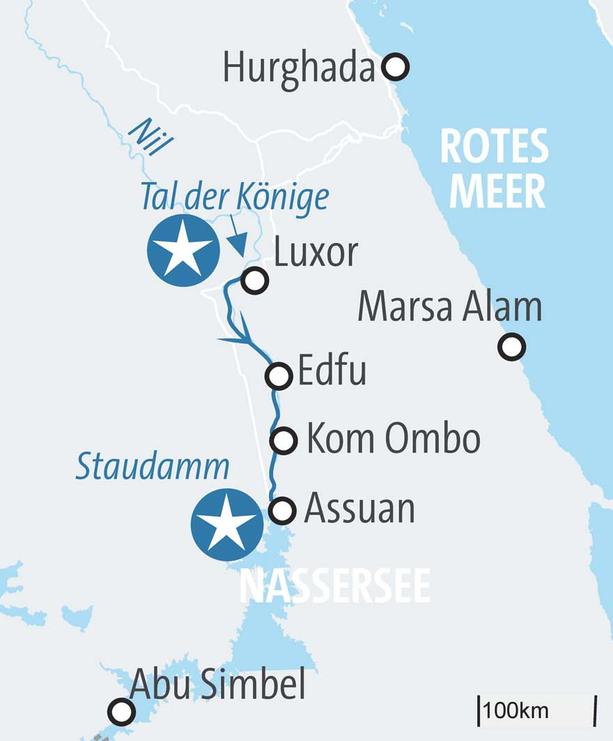 Karte Route Nilkreuzfahrt