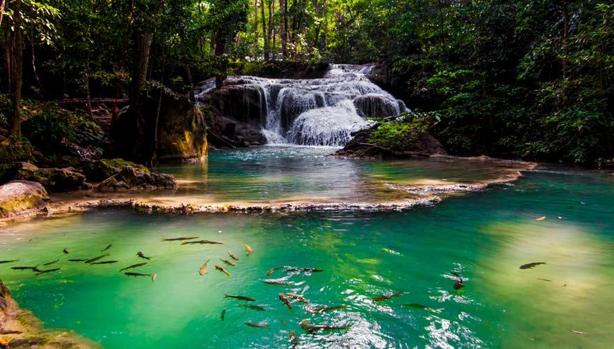 Wasserfall im Erawan Nationalpark