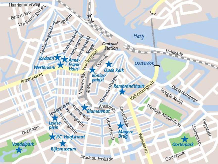 Karte Grachten in Amsterdam mit Sehenswürdigkeiten