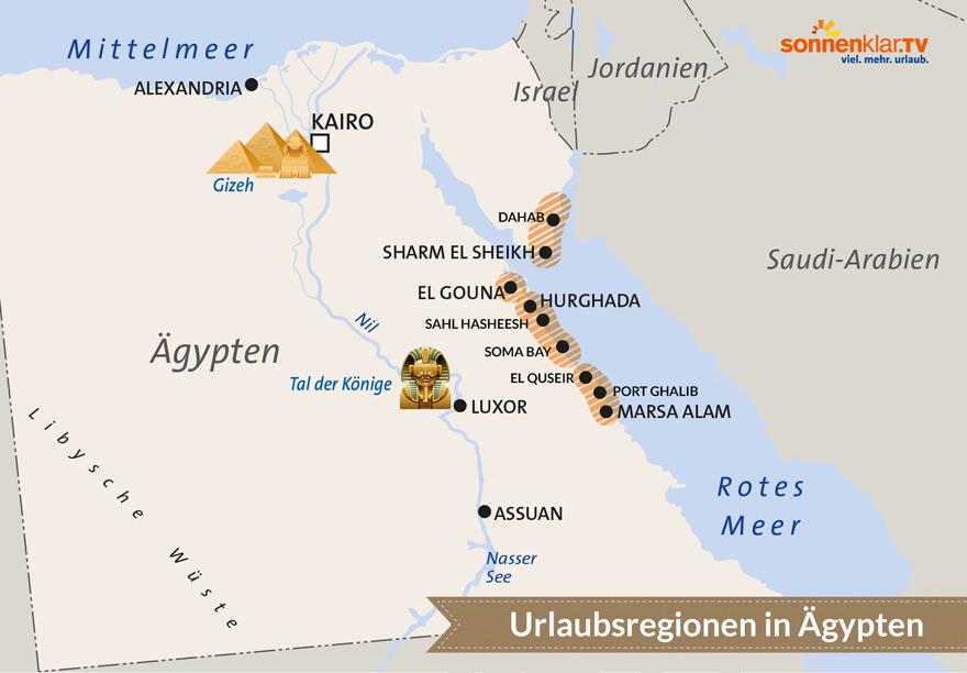 Karte Ägypten Urlaubsorte