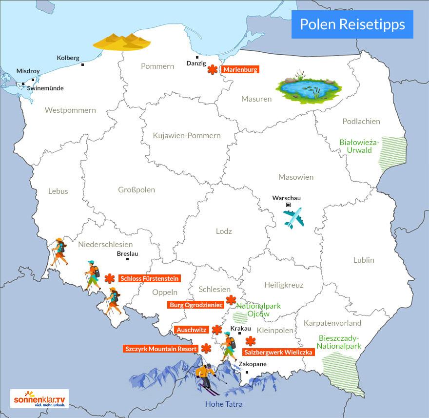 Karte Polen Reisetipps und Sehenswürdigkeiten