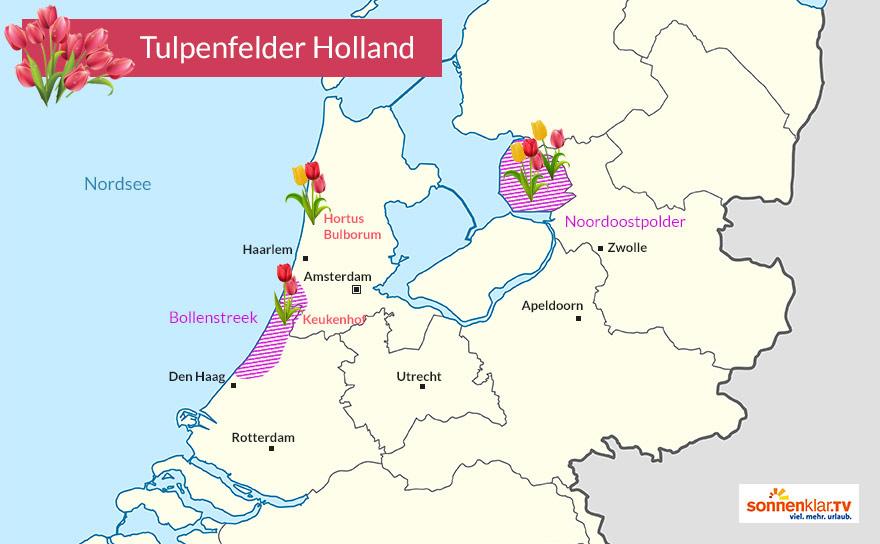 Karte Tulpenfelder Holland