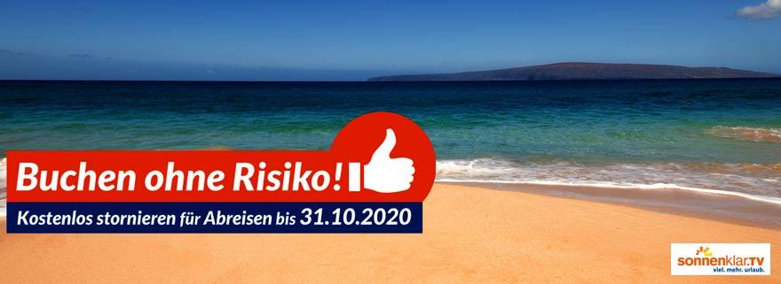 Urlaub buchen ohne Risiko Banner