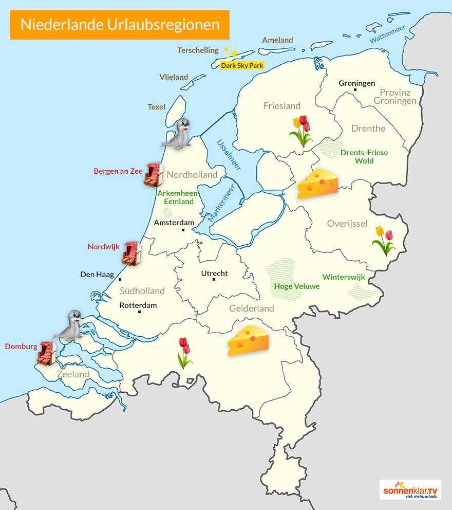 Karte Niederlande Reiseziele