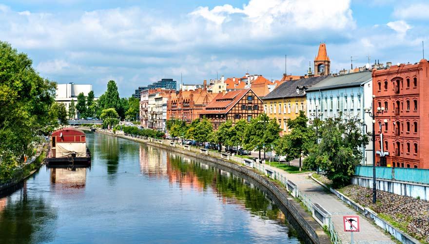 Der Fluss Brda teilt die polnische Stadt Bydgoszcz