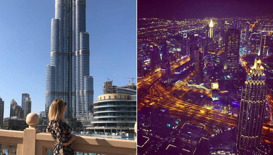 Burj Khalifa mit Aussicht in der Nacht