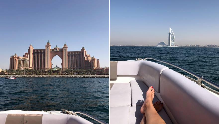 Aussicht auf Atlantis The Palm und Burj Khalifa während einer Motorboots-Tour