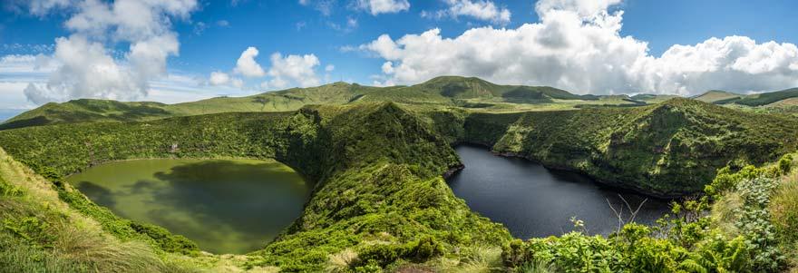 Blick über Lagoa Comprida und Lagoa Negra auf Flores, Azoren