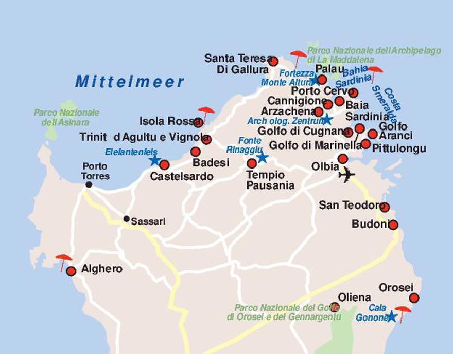 Karte Sardinien Norden