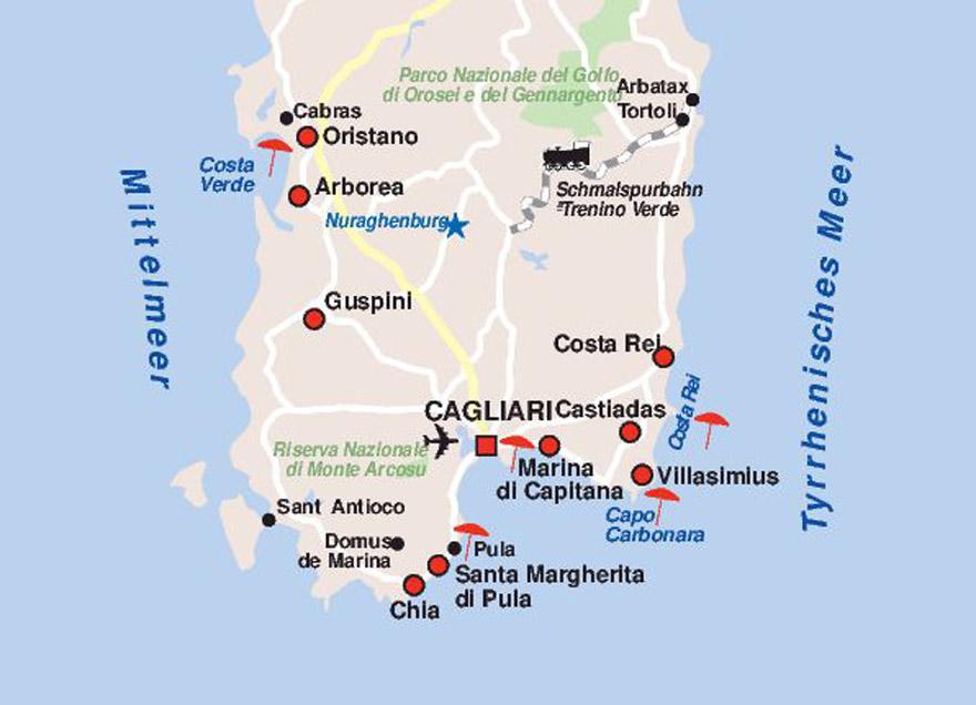 Karte Sardinien Süden