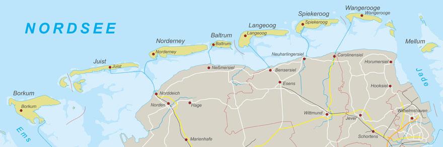 Karte von den Ostfriesischen Inseln