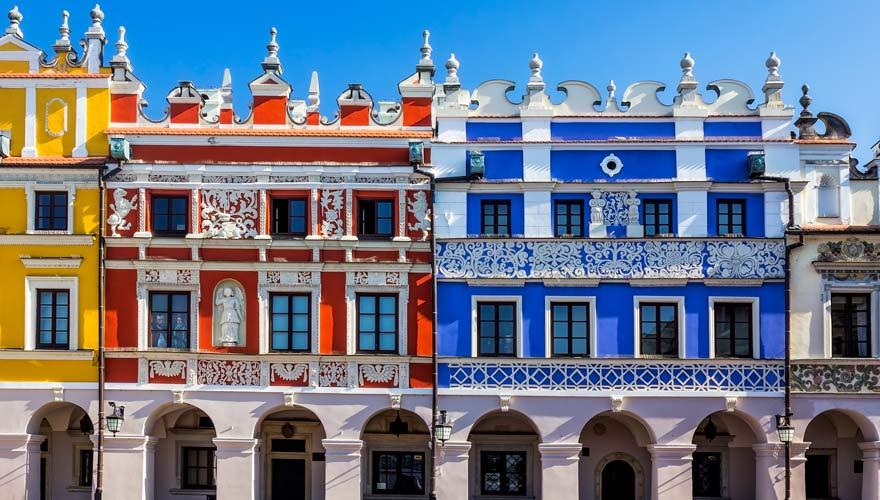 Altstadt von Zamosczmit bunten Häusern im Renaissance-Stil