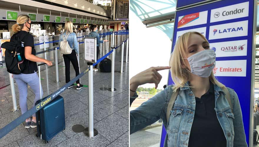 Sicherheitsabstand und Maskenpflicht - die neuen Corona bedingten Hygienemaßnahmen am Frankfurter Flughafen