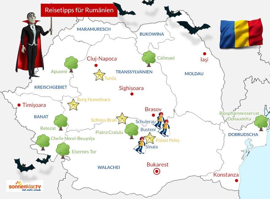 Karte Rumänien Reisetipps