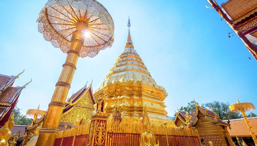 Goldener Tempel Wat Phra That Doi Suthep in Chiang Mai