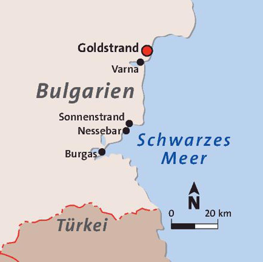 Karte Lage Goldstrand Bulgarien