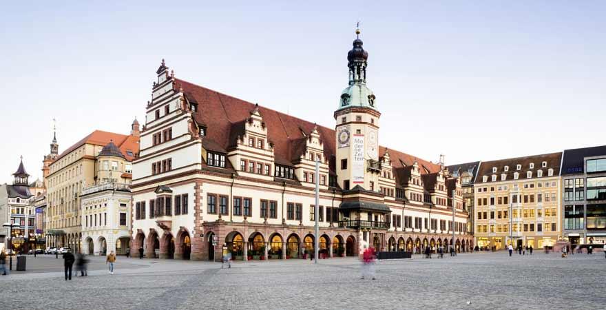 Marktplatz und Rathaus in Leipzig