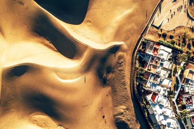 Luftbild der Dünen von Maspalomas