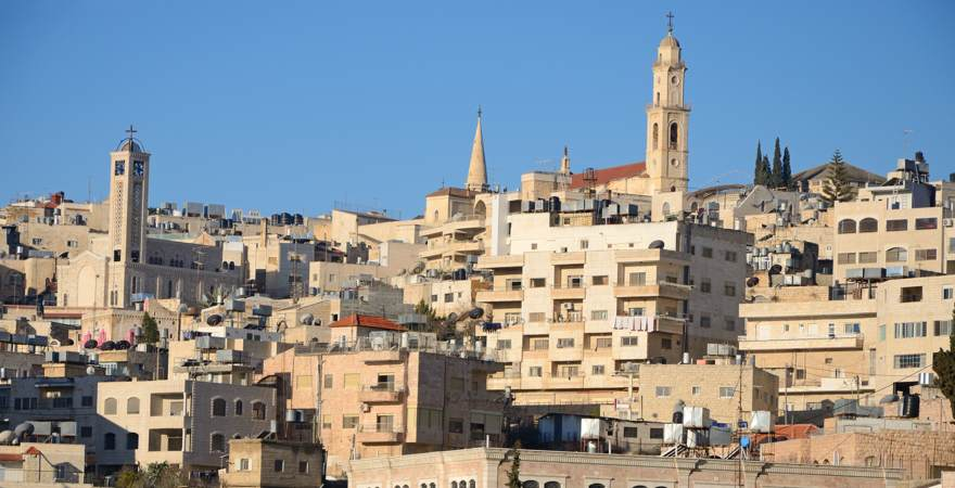 Die Stadt Bethelem im Westjordanland mit Kirchen