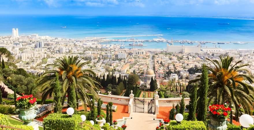 Haifa, eine Stadt in Israel am Mittelmeer mit den Hängenden Gärten von Bahai